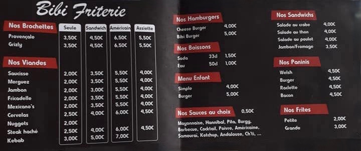 Photo Le menu de Bibi friterie à Alquines
